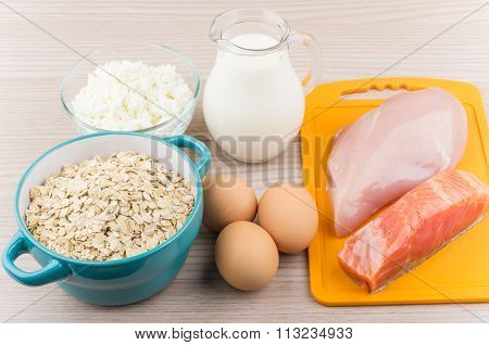 Foods Rich In Protein And Carbohydrates On Table