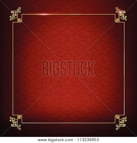 Abstract Dark And Red Background For Happy Chinese New Year Oriental And Traditional  Wave Cloud Sym