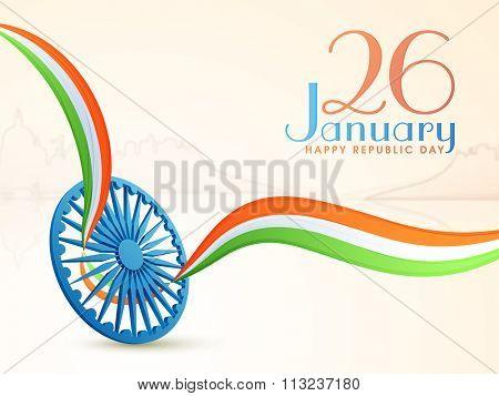 Glossy 3D Ashoka Wheel with National Tricolours waves for 26 January, Happy Republic Day celebration.