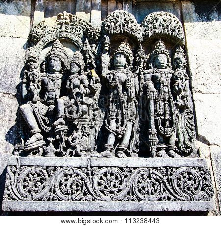 Lord Vishnu & Lakshmi with deities at Chennakesava temple, Belur captured on December 30th, 2015