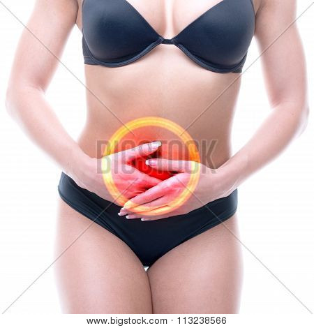 Menstruation - Female Pain Periods Isolated On White - Real Anatomy Concept