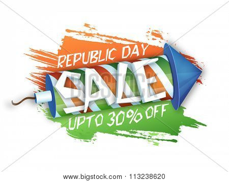 Glossy Bumper Sale Poster or Banner with 30% discount offer for Happy Indian Republic Day celebration.