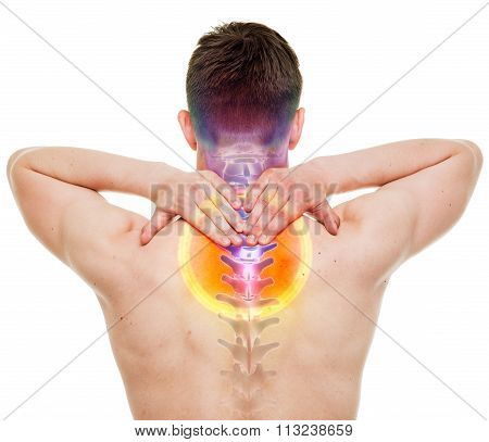 Neck Pain - Male Hurt Cervical Spine Isolated On White - Real Anatomy Concept