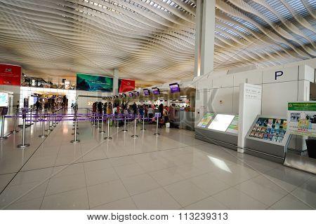 HONG KONG - DECEMBER 24, 2015: interior of  Hong Kong Airport. Hong Kong International Airport is the main airport in Hong Kong. It is located on the island of Chek Lap Kok