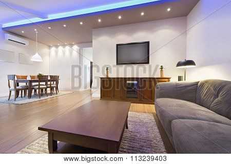 Interior of a modern apartment - open space living room