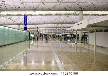 HONG KONG - DECEMBER 26, 2015: interior of  Hong Kong Airport. Hong Kong International Airport is the main airport in Hong Kong. It is located on the island of Chek Lap Kok