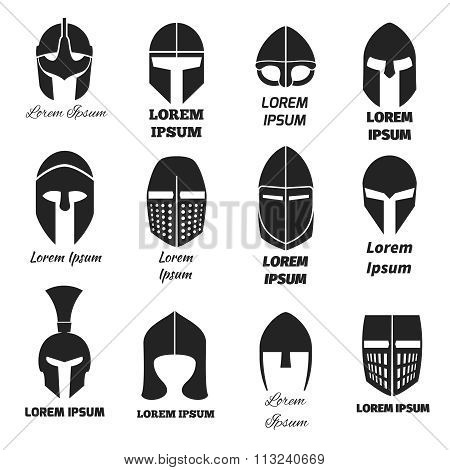 Warrior helmets black vector icons or logos set
