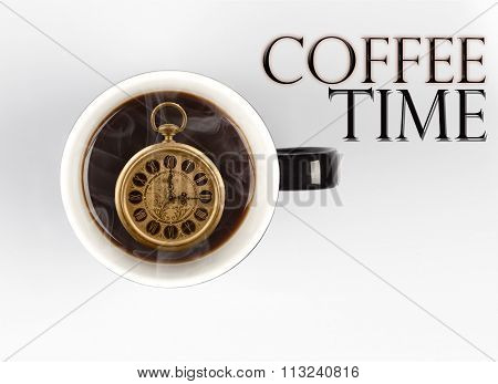 Coffee Time Concept - Watch Inside Mug On White 3 O'clock