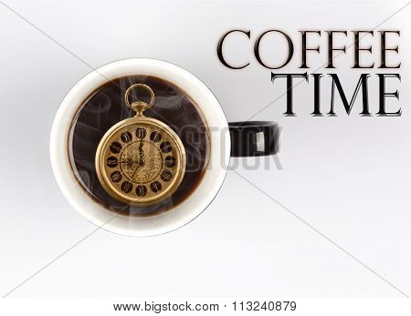 Coffee Time Concept - Watch Inside Mug On White 9 O'clock