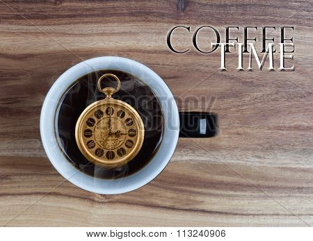 Coffee Time Concept - Watch Inside Mug 3 O'clock