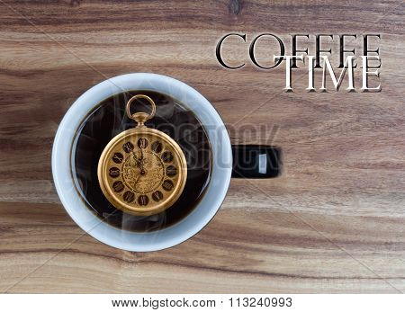 Coffee Time Concept - Watch Inside Mug 5 Minutes To 12 O'clock