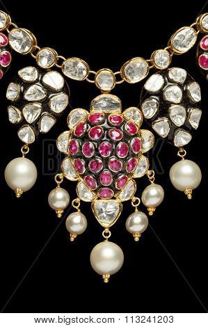 Close up of a beautiful diamond and pearl necklace.