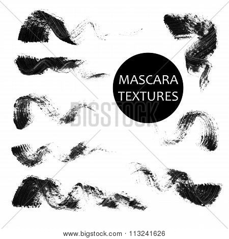 Set of 8 artistic mascara black strokes
