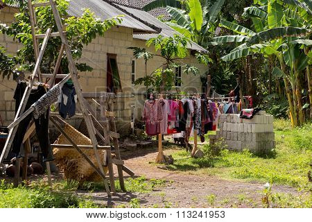 Washed Clothes Drying Outside