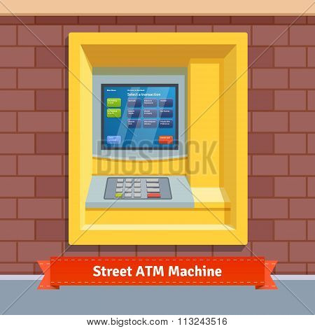 Brick wall mounted outdoor ATM machine