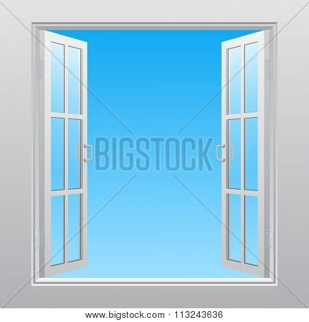 White double window into sky open outwardly. Concept design. Vector illustration
