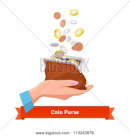 Coin rain to a purse in woman hand