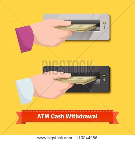 Human hand putting banknotes to ATM cash validator