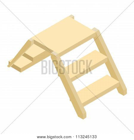 Wooden ladder isometric 3d icon