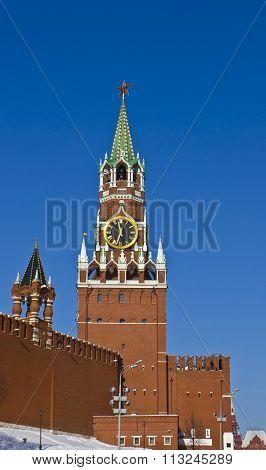Moscow, Spasskaya Tower Of Kremlin