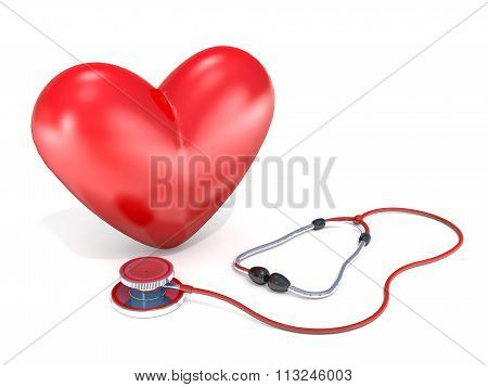 Stethoscope And Heart On A White Background.