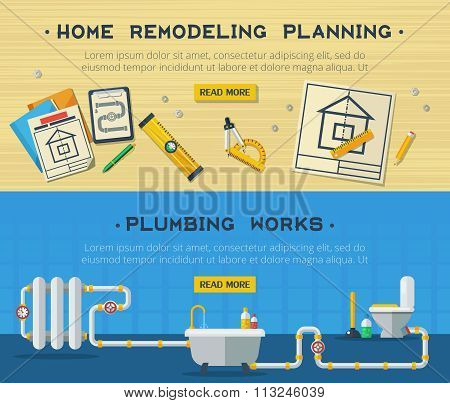 Home Repair 2 Flat Banners Set