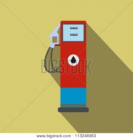 Gasoline refueling flat icon with a shadow