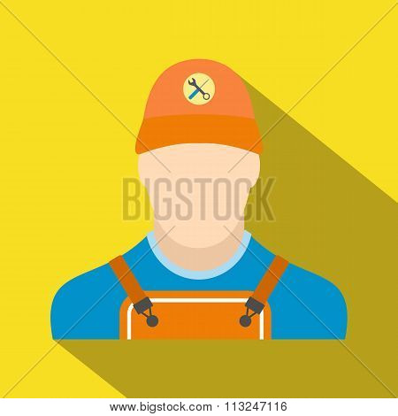 Auto mechanic avatar flat icon with shadow