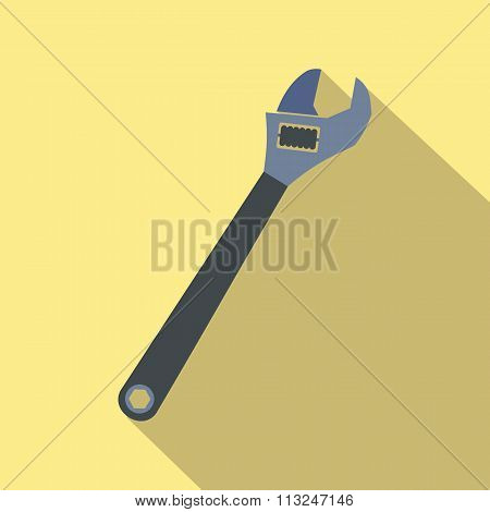 Adjustable wrench flat icon with shadow