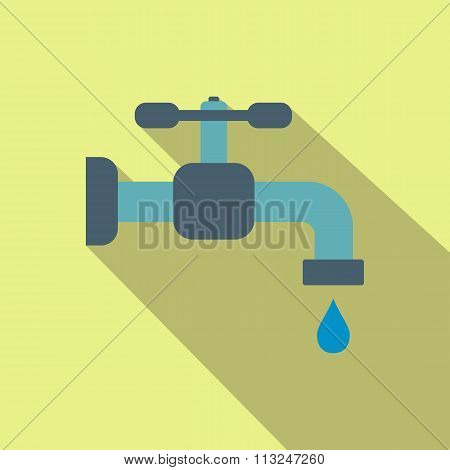 Faucet flat icon with shadow