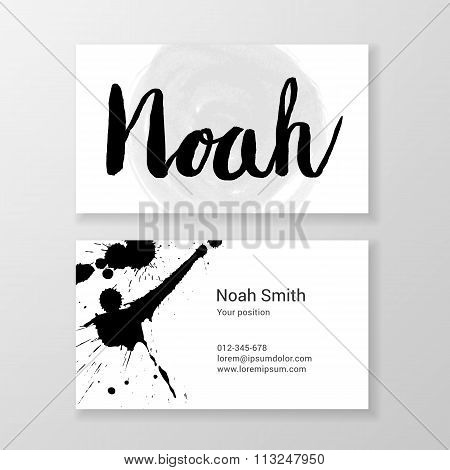 Brushed Letter Noah Name Hand Written Business Card Template