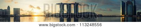 SINGAPORE -May 11: Wonderful sunrise at the Marina Bay waterfront in Singapore. Marina Bay Sands Ho