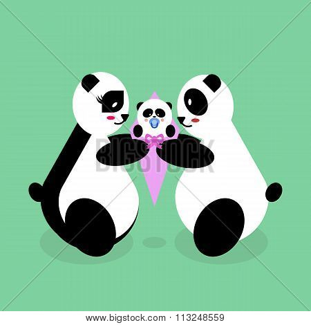Family panda bears with a newborn baby. Mother, father, daughter, son. mothers Day