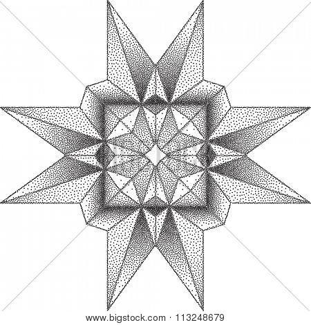 Geometric Shape Stipple Effect Vector Illustration