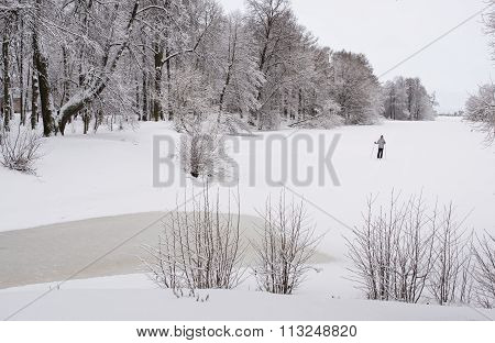 Skiing In The City Park