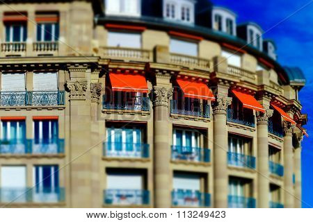 Old Renovated Hotel In Strasbourg Tilt-shift View