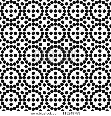 Repeating black and white circle pattern
