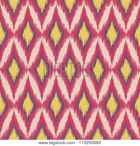 Vector seamless colorful ikat ethnic pattern. Boho style