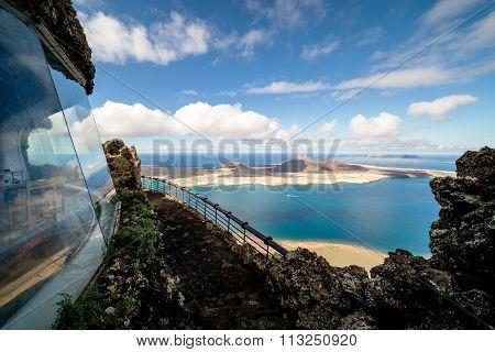 Mirador Del Rio, Spain - November 4 2015: view towards La Graciosa