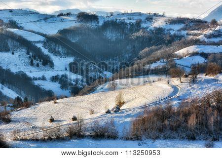 Frozen Sunny Day Of A Winter, On Wild Transylvania Hills. Holbav. Romania. Low Key, Dark Background,