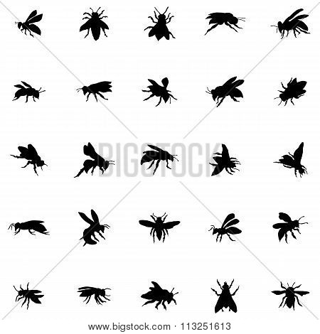 Bee silhouettes set. Bee icons. Bee set. Bee signs. Bee black icons. Bee icons set. Bee icons art. Bee icons web. Bee silhouettes black. Bee silhouettes web. Bee silhouettes art