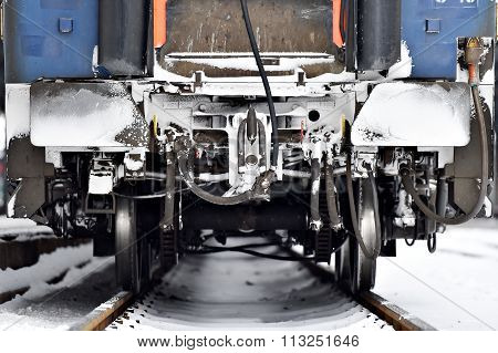 Train Wagon Buffers And Links Frozen In Winter