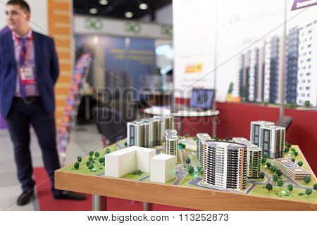 ST. PETERSBURG, RUSSIA - OCTOBER 31, 2015: 3D model of new residential structures during the Real Estate Fair. It is the largest real estate exhibition in Russia presenting urban and suburban property