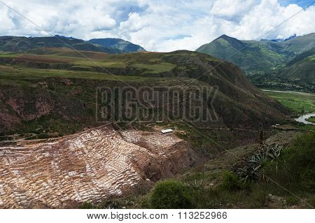 Maras Salt Mines near the village of Maras Sacred Valley Peru