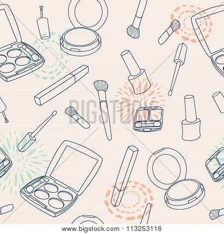 Vector Seamless Make Up Pattern With Brushes, Eyeshadow Palette, Face Powder, Nail Polish.