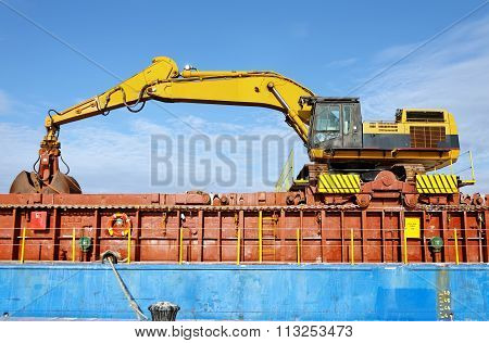 Excavator On Cargo Ship
