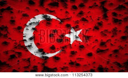 Flag of Turkey, Turkish flag painted on wall with bullet holes