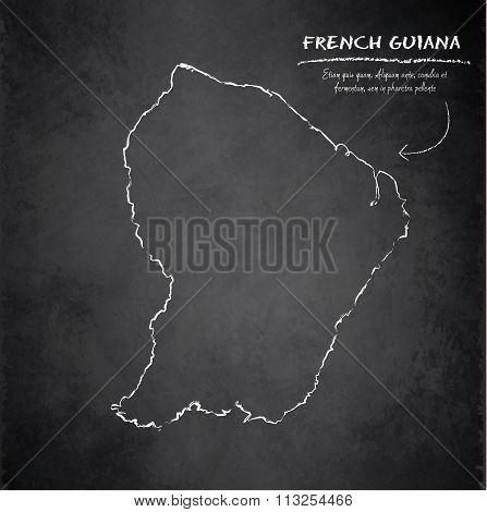 French Guiana map blackboard chalkboard vector