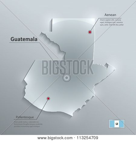 Guatemala map flag glass card paper 3D vector