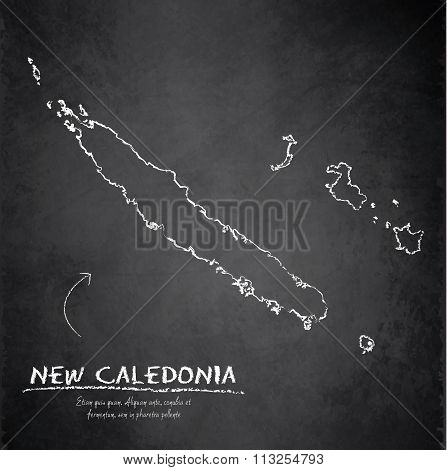 New Caledonia map blackboard chalkboard vector